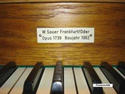 Sauer Orgel Firmenschild